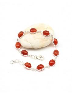 Bracelet cornaline en argent - Mosaik bijoux indiens