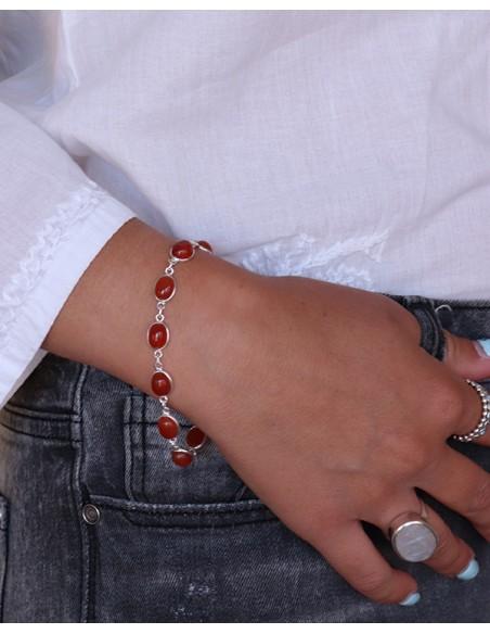 Bracelet argent pierres oranges - Mosaik bijoux indiens