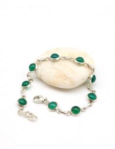 Bracelet argent et pierres vertes - Mosaik bijoux indiens