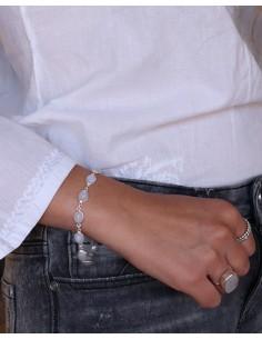 Bracelet argent et pierres blanches - Mosaik bijoux indiens 2