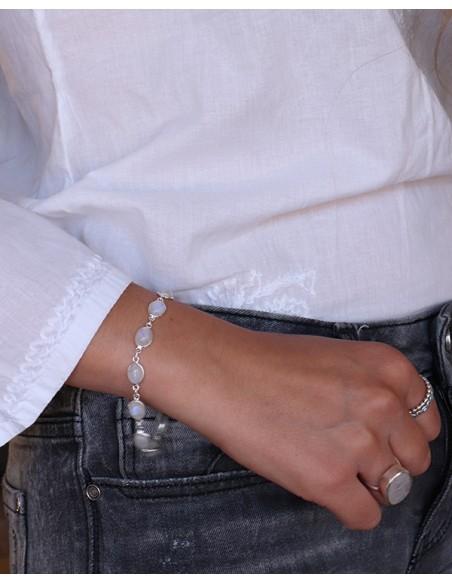 Bracelet souple et pierres de lune en argent - Mosaik bijoux indiens