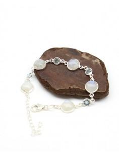 Bracelet argent souple pierres bleues et blanches - Mosaik bijoux indiens