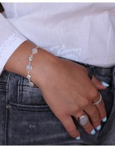 Bracelet argent souple pierres bleues et blanches - Mosaik bijoux indiens 2