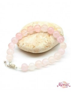 Bracelet quartz rose 8mm avec fermoir