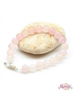 Bracelet quartz rose perles rondes - Mosaik bijoux indiens