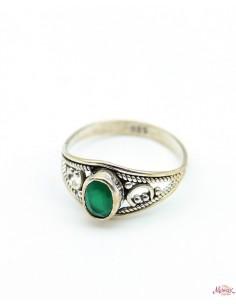 Bague travaillée argent et agate verte - Mosaik bijoux indiens