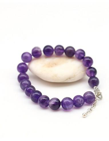 Bracelet améthyste perles rondes 8mm - Mosaik bijoux indiens