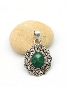 Pendentif argent et pierre verte - Mosaik bijoux indiens