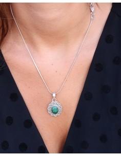 Pendentif argent et pierre verte - Mosaik bijoux indiens 2