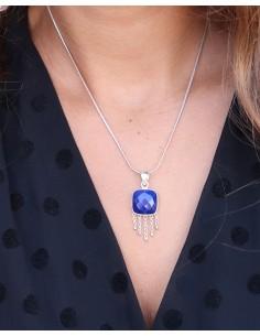Pendentif argent lapis lazuli carré - Mosaik bijoux indiens 2
