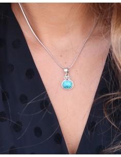 Pendentif turquoise en argent - Mosaik bijoux indiens 2