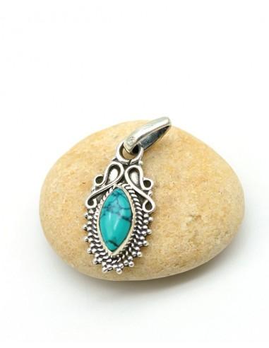 Petit pendentif turquoise ethnique - Mosaik bijoux indiens