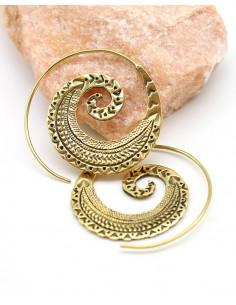 Boucles d'oreilles spirales en laiton travaillé - Mosaik bijoux indiens