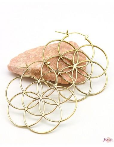 Boucles d'oreilles graine de vie dorées - Mosaik bijoux indiens