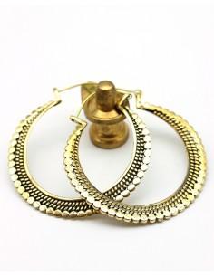 Créoles travaillées laiton doré - Mosaik bijoux indiens
