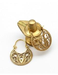 Petites créoles dorées travaillées - Mosaik bijoux indiens