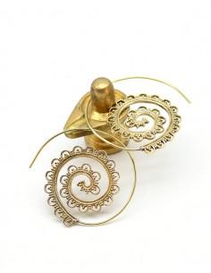 Créoles spirales en laiton doré - Mosaik bijoux indiens