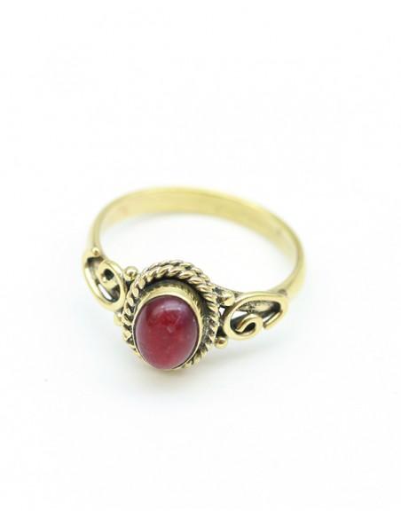 Bague dorée pierre rouge - Mosaik bijoux indiens