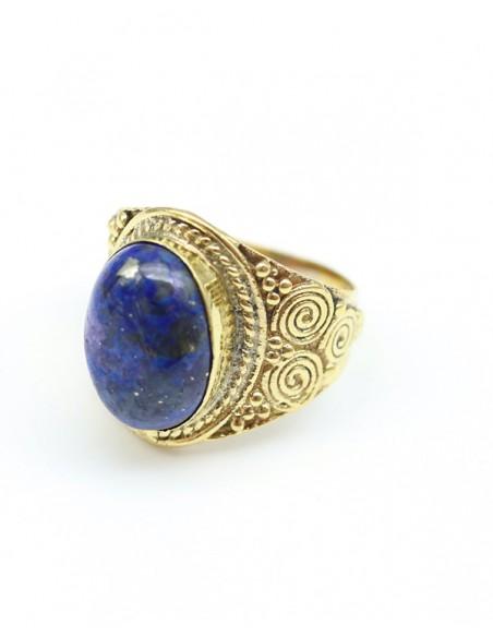 Grosse bague en laiton et pierre bleue - Mosaik bijoux indiens