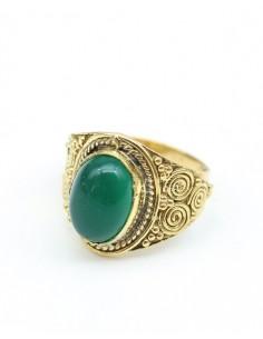Bague dorée ethnique et pierre verte - Mosaik bijoux indiens