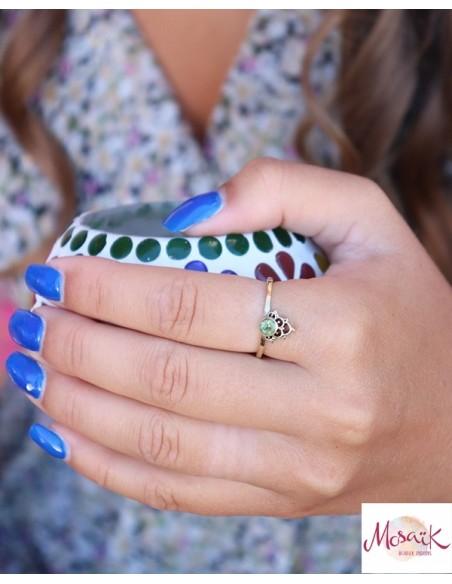 Bague fine dorée et péridot - Mosaik bijoux indiens