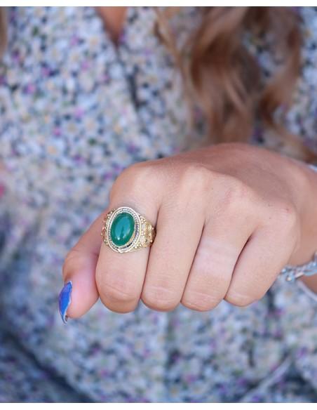 Bague laiton et pierre verte - Mosaik bijoux indiens