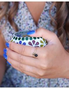 Bague fine laiton et onyx - Mosaik bijoux indiens 2