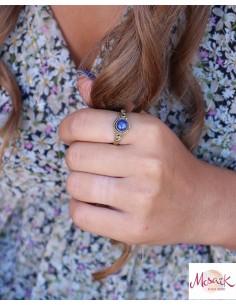 Bague dorée laiton et pierre bleue - Mosaik bijoux indiens 2