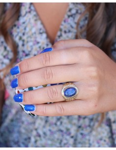 Grosse bague en laiton et pierre bleue - Mosaik bijoux indiens 2