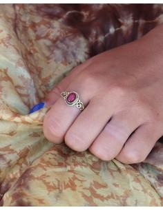 Bague dorée pierre rouge - Mosaik bijoux indiens 2
