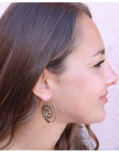 Boucles d'oreilles spirales travaillées - Mosaik bijoux indiens