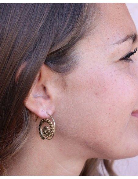 Boucles d'oreilles créoles dorées spirales - Mosaik bijoux indiens