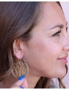 Boucles d'oreilles ethniques travaillées en laiton - Mosaik bijoux indiens 2