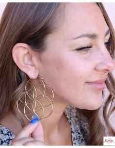 Boucles d'oreilles graine de vie dorées - Mosaik bijoux indiens 2
