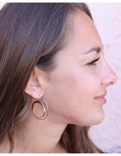Boucles d'oreilles dorées fines et lisses - Mosaik bijoux indiens 2