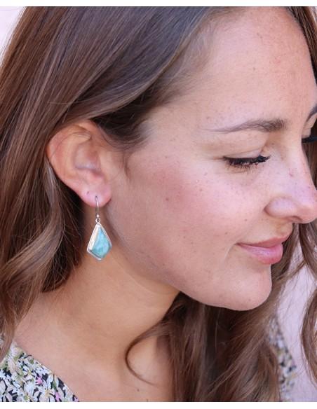 Boucles d'oreilles triangle argent et pierre verte - Mosaik bijoux indiens