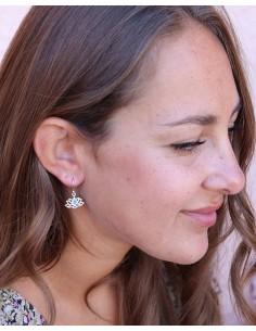 Boucles d'oreilles lotus et pierre bleue - Mosaik bijoux indiens 2
