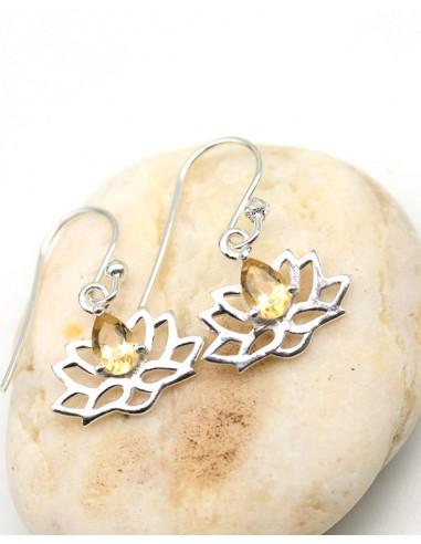 Boucles d'oreilles lotus et pierre jaune - Mosaik bijoux indiens