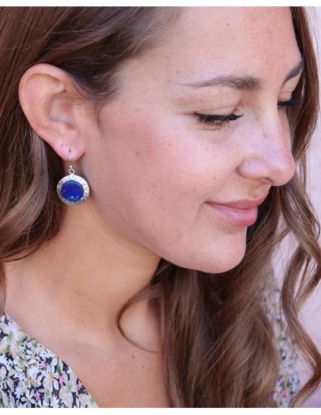 Boucles rondes argent et lapis lazuli - Mosaik bijoux indiens
