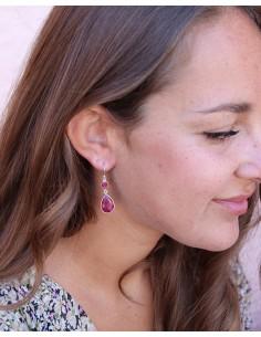 Boucles argent et rubis indien - Mosaik bijoux indiens 2
