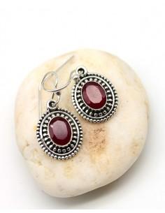 Boucles d'oreilles argent et rubis - Mosaik bijoux indiens