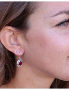 Boucles d'oreilles argent et rubis - Mosaik bijoux indiens 2