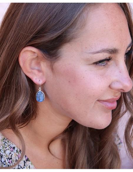 Boucles d'oreilles labradorite naturelle - Mosaik bijoux indiens