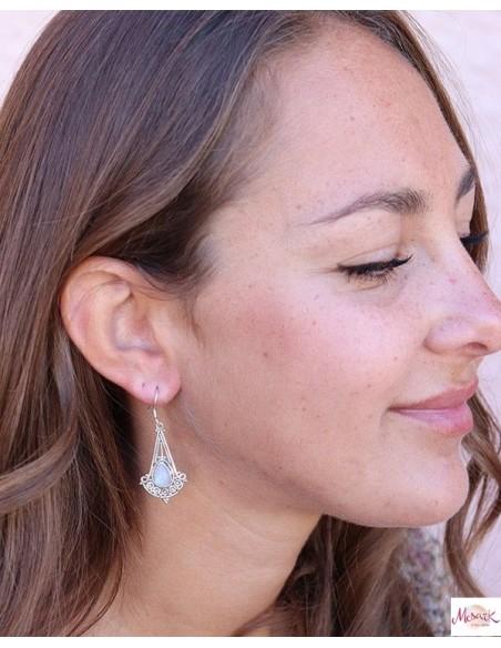 Boucles d'oreilles indiennes argent et pierre de lune - Mosaik bijoux indiens