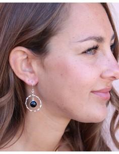Boucles d'oreilles argent rondes et pierre noire - Mosaik bijoux indiens 2