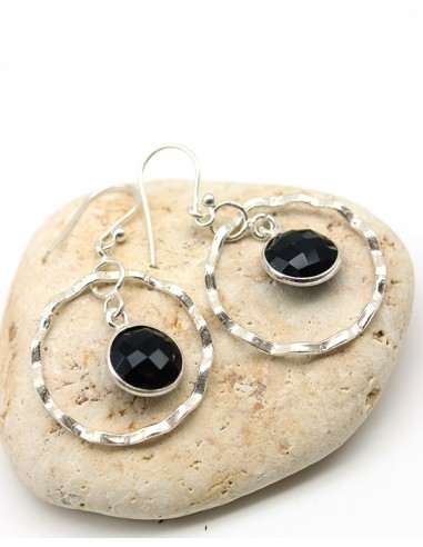 Boucles d'oreilles argent rondes et pierre noire - Mosaik bijoux indiens