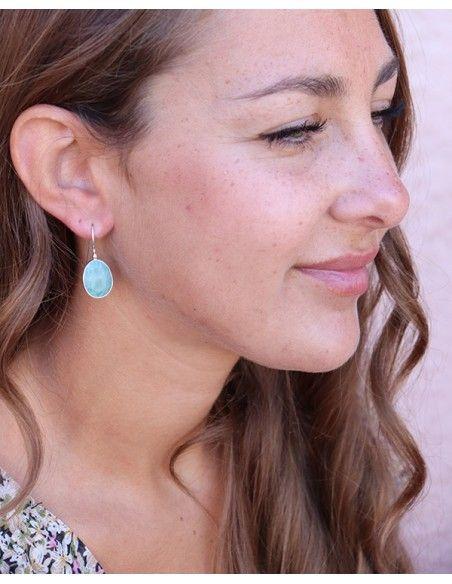 Boucles d'oreilles argent et amazonite taillée - Mosaik bijoux indiens