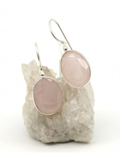 Boucles d'oreilles argent et quartz rose ovale - Mosaik bijoux indiens