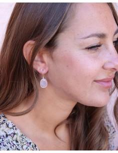 Boucles d'oreilles argent et quartz rose ovale - Mosaik bijoux indiens 2