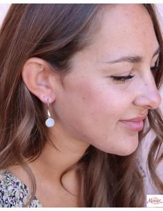 Boucles d'oreilles argent et pierre de lune - Mosaik bijoux indiens 2